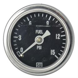 Stewart Warner 838138 Liquid Filled Pressure Gauge, 15 PSI, Black