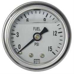 Stewart Warner 838139 Liquid Filled Pressure Gauge, 15 PSI, White