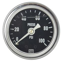 Stewart Warner 838140 Liquid Filled Pressure Gauge, 100 PSI Black