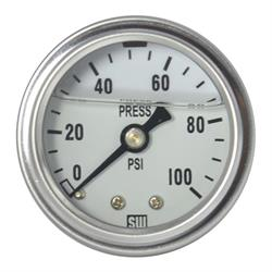 Stewart Warner 838141 Liquid Filled Pressure Gauge, 100 PSI White