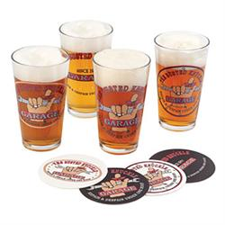 Busted Knuckle Garage BKG-78701 Pint Glass Set, 4 Pack