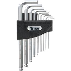 Titan Tools 12736 9-Piece Detent Ball-End Allen Wrench Hex Key Set, Metric
