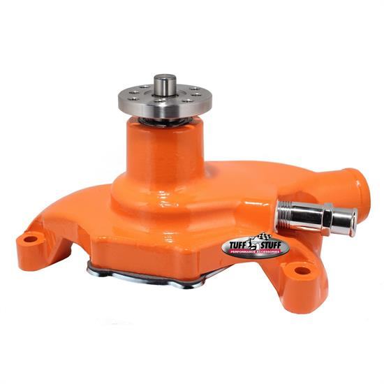 Tuff Stuff 1354NCORANGE SBC Short Aluminum Water Pump, Orange