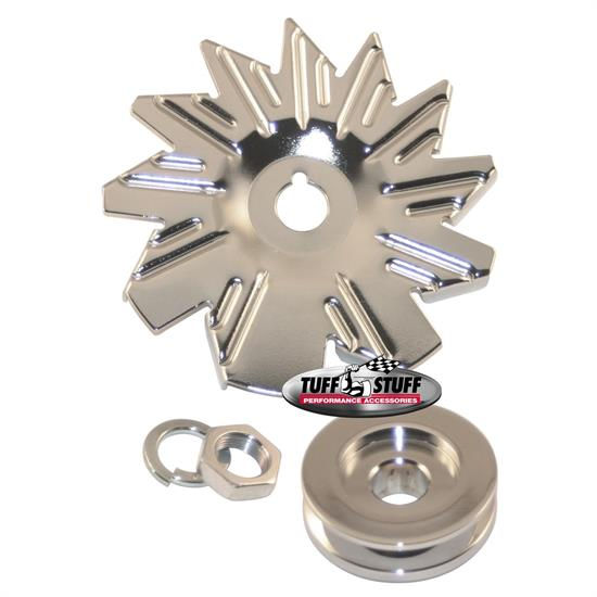 Tuff Stuff 7600A Chrome Alternator Fan And Pulley Combo