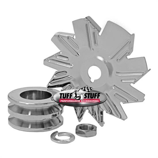 Tuff Stuff 7600B Chrome Alternator Fan And Pulley Combo