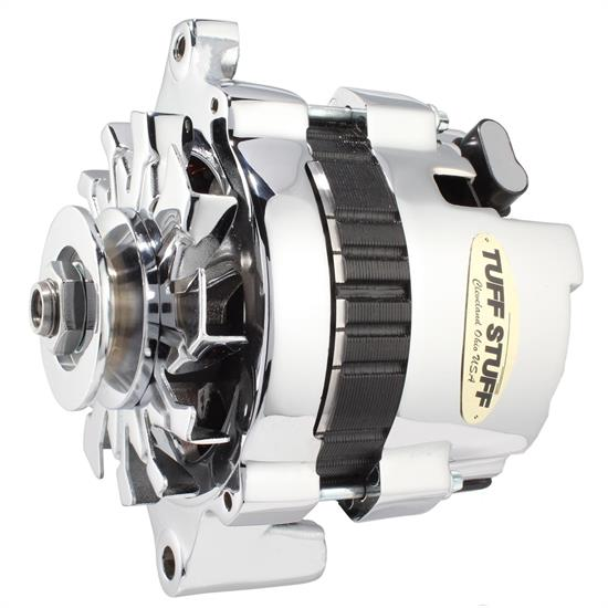 Tuff Stuff 7937A GM Racer Alternator, 1 Wire/OEM Hookup, Chrome