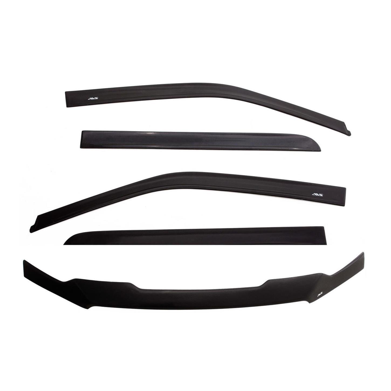 Combo 4Pc InChannel Vent Visor /& Bug Shield 2014-2020 Toyota Tundra Double Cab