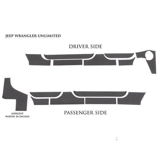 LUND 5821202 Rhino Linings Rocker Guard Small 07-17 Jeep Wrangler