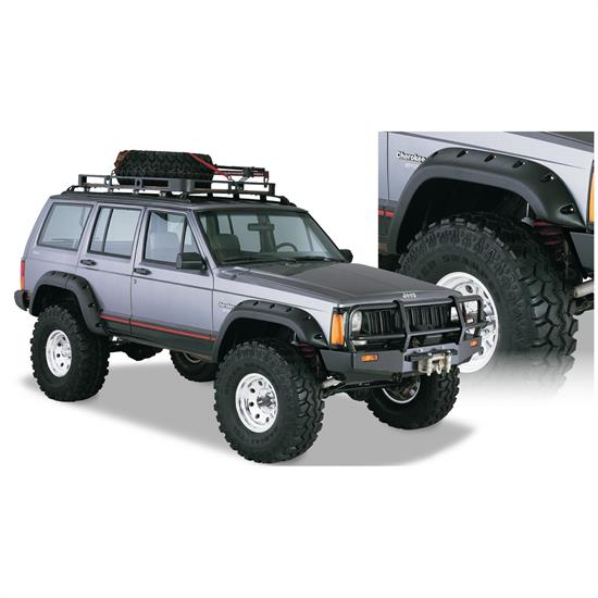 Bushwacker 10911-07 Cut-Out Fender Flares F/R 4pc, 84-01 Cherokee