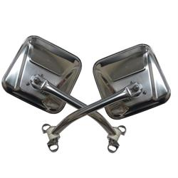 Rampage 7418 Side Mirror Kit Stainless Pair, CJ5/CJ7/Wrangler