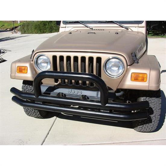 Rampage 8620 Front Double Tube Bumper w/Hoop Black, Jeep