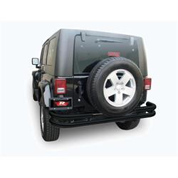 Rampage 88648 Rear Double Tube Bumper Textured Black, Wrangler