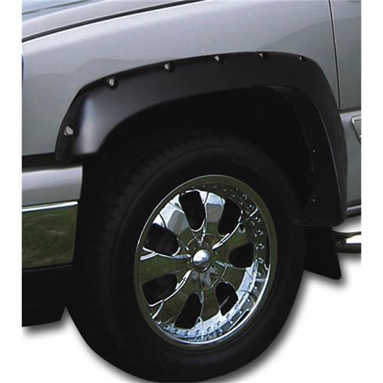 BLACK TEXTURED Pocket Rivet Fender Flares 2007-2013 Toyota Tundra Front Long