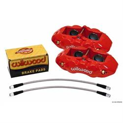 Wilwood 140-10789-R D8-4 Front Caliper Kit, 65-82 Corvette C2/C3, Red