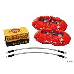 Wilwood 140-11857-R D8-6 Front Caliper Kit, 65-82 Corvette C2/C3, Red