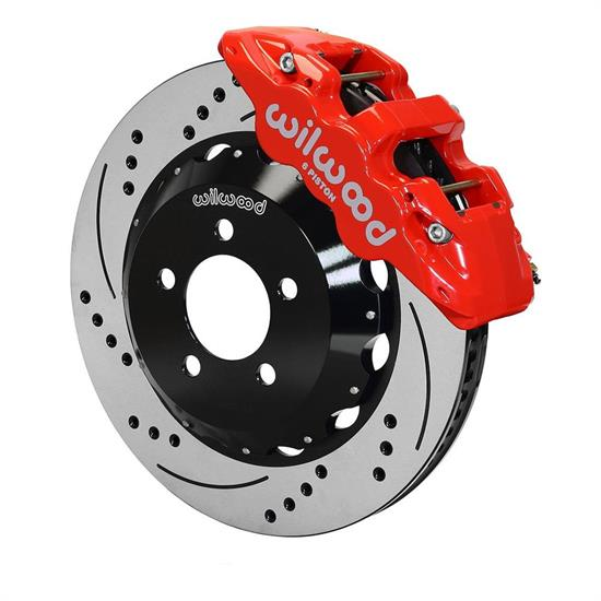 Wilwood 140-14067-DR AERO6 14.25 Inch Drilled Front Brake Kit, Red