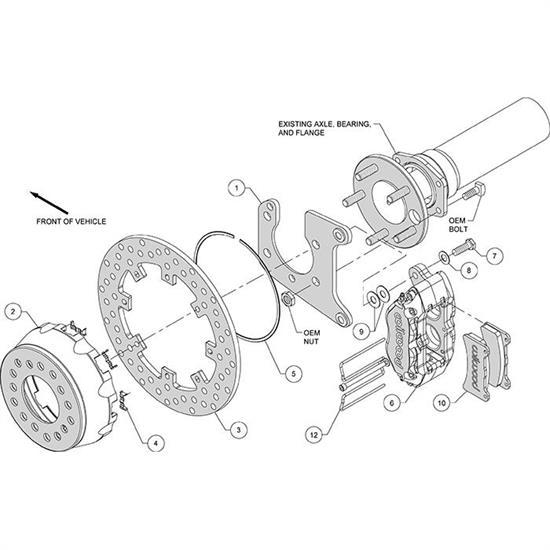 Wilwood 140-14129-DN Dynapro SA Lug Drive Rear Drag Brake Kit