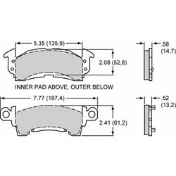 Wilwood 150-D0052K D52 Promatrix Brake Pad Set, .585/.525 Inch