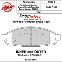 Wilwood 150-D0931K D931 Promatrix Brake Pad Set, .650 Inch Thick