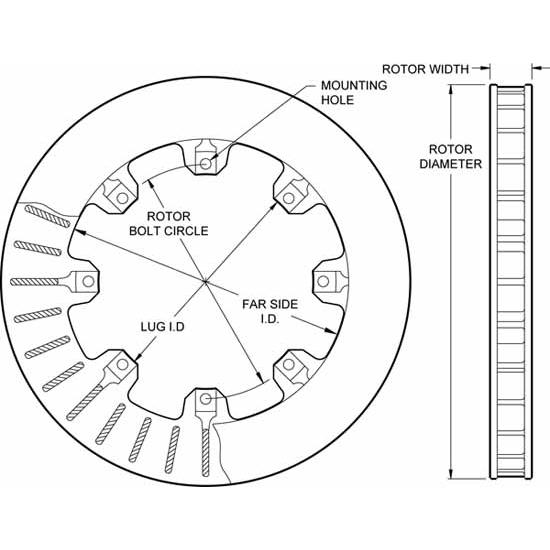 "Wilwood 160-5864 Ulltralite 32 Vane 1.25/"" Rotor Drilled"