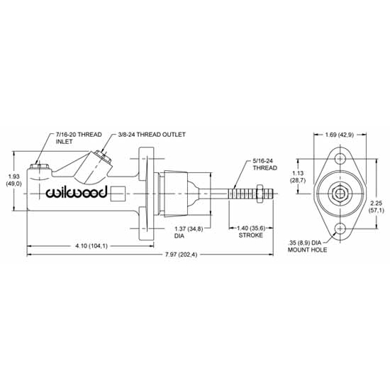0.62 Inch Wilwood 260-15089 GS Compact Remote Master Cylinder