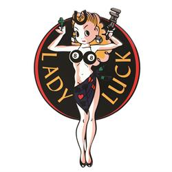 Lady Luck Embossed Aluminum Sign