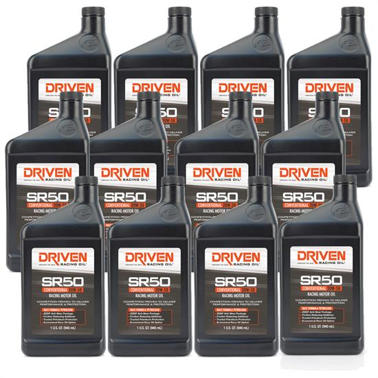 Driven Racing Oil 05206 SR50 Conventional 20W50 Motor Oil, 12 Quarts