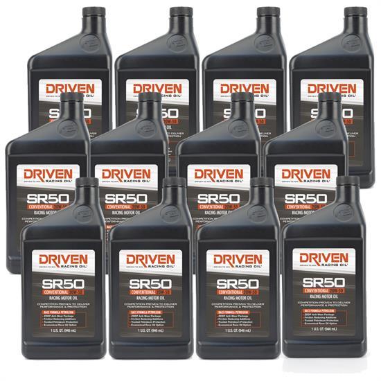 Driven Racing Oil 05206 SR50 Conventional 20W50 Motor Oil, 12 Quarts