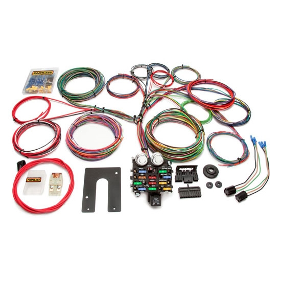 painless wiring 10104 21 circuit gm pickup chassis wiring harness   universal fit, 21 number of circuits, fuse block included, compatible with  gm column