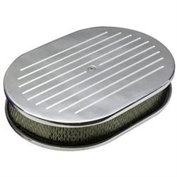 Ball Milled Billet Aluminum Oval Air Cleaner, 12 Inch