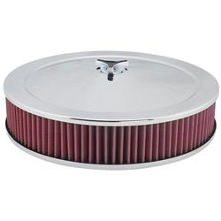 Chrome Air Cleaner with Washable Filter, 14 x 3 Inch