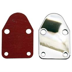 Small Block Chevy Fuel Pump Block Off Plate, Chrome
