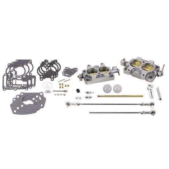 Chevy SBC Rochester 2-Jet 2G Tri-Power 3x2 Carb Kit w/ Linkage
