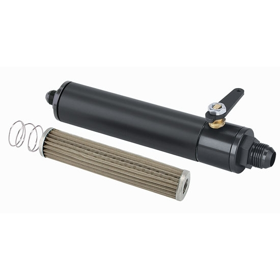 Black Fuel Filter with Shut-Off, 6 Inch, -12 AN