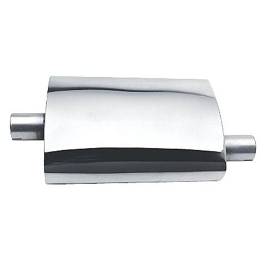 Brushed Stainless Turbo Muffler, 2 Inch Inlet/Outlet
