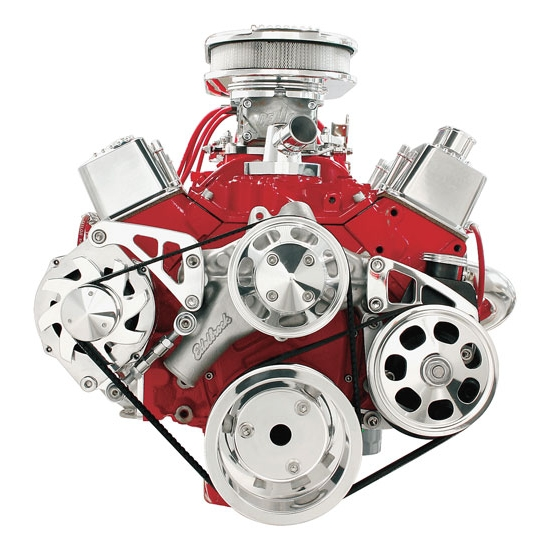 Billet FM2122PC S/B Chevy Mid Mount Serpentine Conversion Kit-Press-On