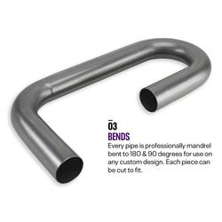 Combo Exhaust Pipe Mandrel Bend/Header Tubing, Mild Steel, 2 Inch