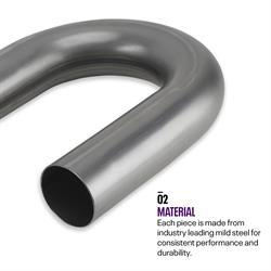 Combo Exhaust Pipe Mandrel Bend/Header Tubing, Mild Steel, 2 Inch
