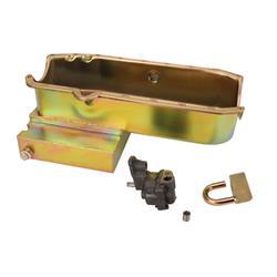 SB Chevy Claimer Oil Pan w/ Plug Combo, Stock Pump, RH Dipstick
