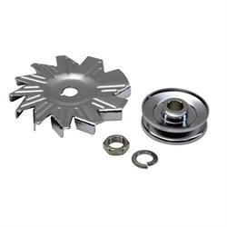 Chrome Single Groove Alternator Pulley with Fan
