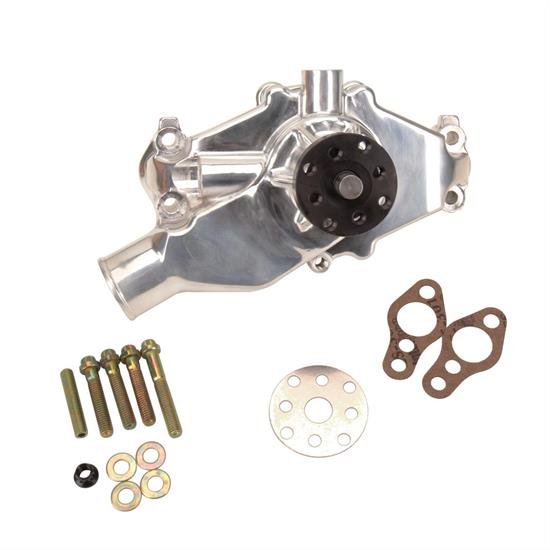 Short Aluminum Water Pump for Small Block Chevy, Polished
