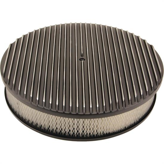 14 Inch Fully Finned Round Air Cleaner Set, Black Aluminum