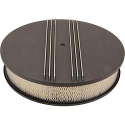 14 Inch Partial Finned Round Air Cleaner Set, Black Aluminum
