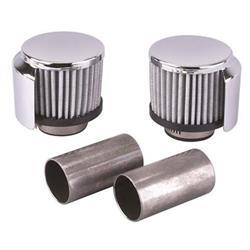 Weld-In Aluminum Valve Cover Breather Set, 1-3/8 Inch Tube