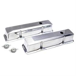 Small Block Chevy Polished Alum Tall Valve Covers, Push-In 1-1/4 Hole