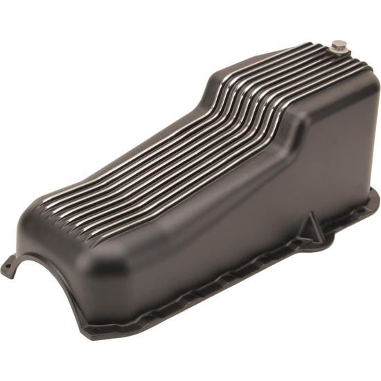 1980-1985 Small Block Chevy 262-400 Finned Oil Pan, Black Aluminum