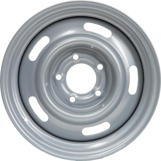 Speedway GM Style 15x7 In Rally Wheel, 5 on 4.75 Inch BP, Silver