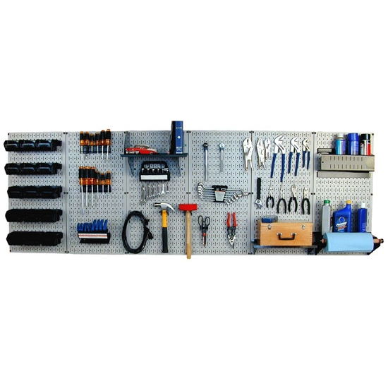 Master Workbench Tool Organizer Assembly Kit, 8 Ft  Long Metal Pegboard