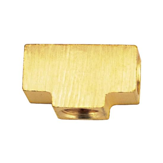 3/8 In-24 IFF Each End, 1/8 In NPT Female Center, Brass Adapter Tee