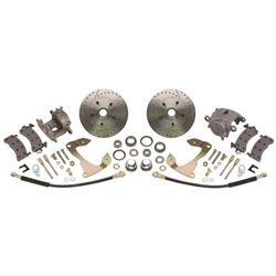 Speedway 1955-57 Chevy Car Front Disc Brake Kit, Drilled/Slotted